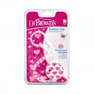 Dr. Brown's - Κλιπ Πιπίλας Με Αλυσίδα Ροζ
