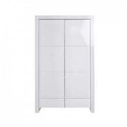 Ντουλάπα 2 φύλλα & 2 συρτάρια Diamond White Glossy