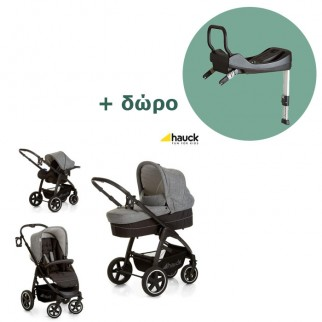 Hauck Πολυκαρότσι Soul Plus Trio Set Melange Grey Caviar Δώρο Η Βάση Isofix